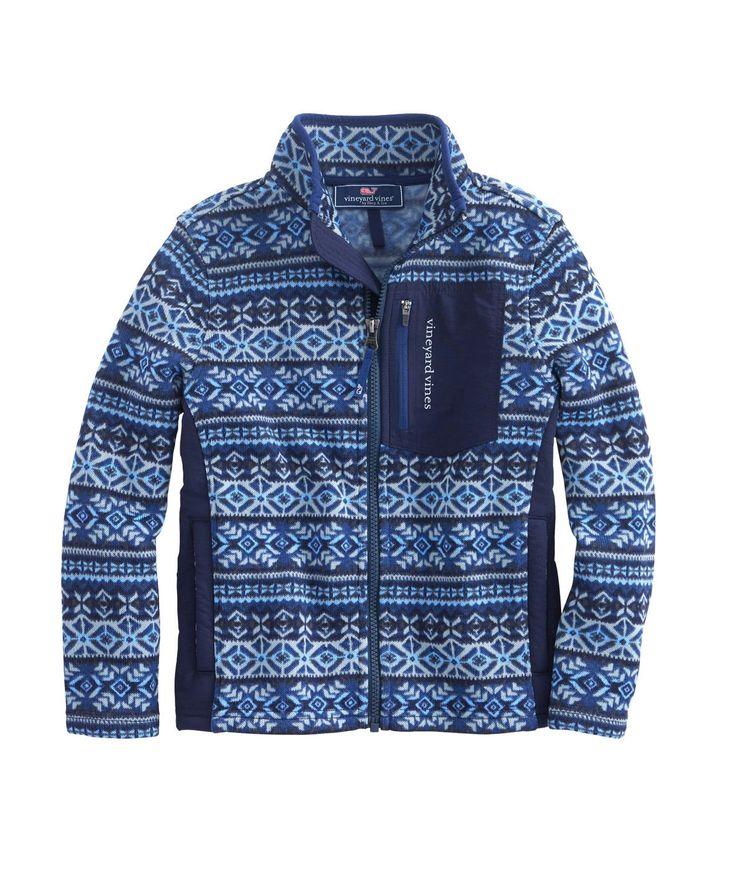 Vineyard Vines Boys Fair Isle Fleece Jacket (Medium). Boy's Vineyard Vines Fair Isle Sweater Fleece Jacket Color: Deep Bay Blue Machine Wash.