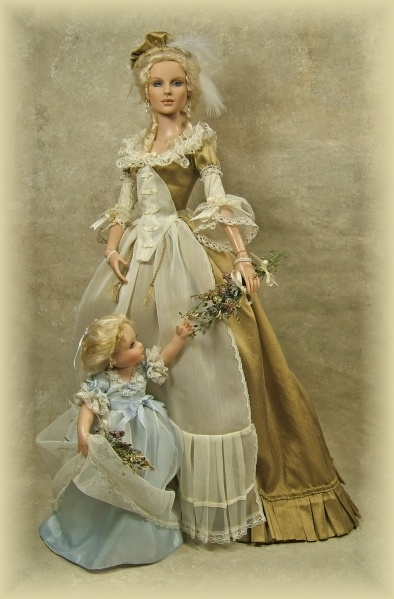 Marie Antoinette and Marie Therese Charlotte dolls, OOAK by Cheryl Crawford