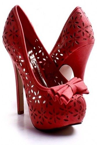 Bright red Red High Heels, platform base, and stiletto heels - only $115                                                                                                                                                                                 Mais