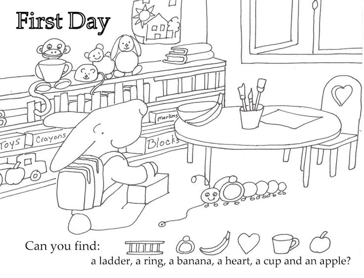 Free Printable First Day Of School Coloring Pages For Kindergarten : 164 best images about seek and finds on pinterest