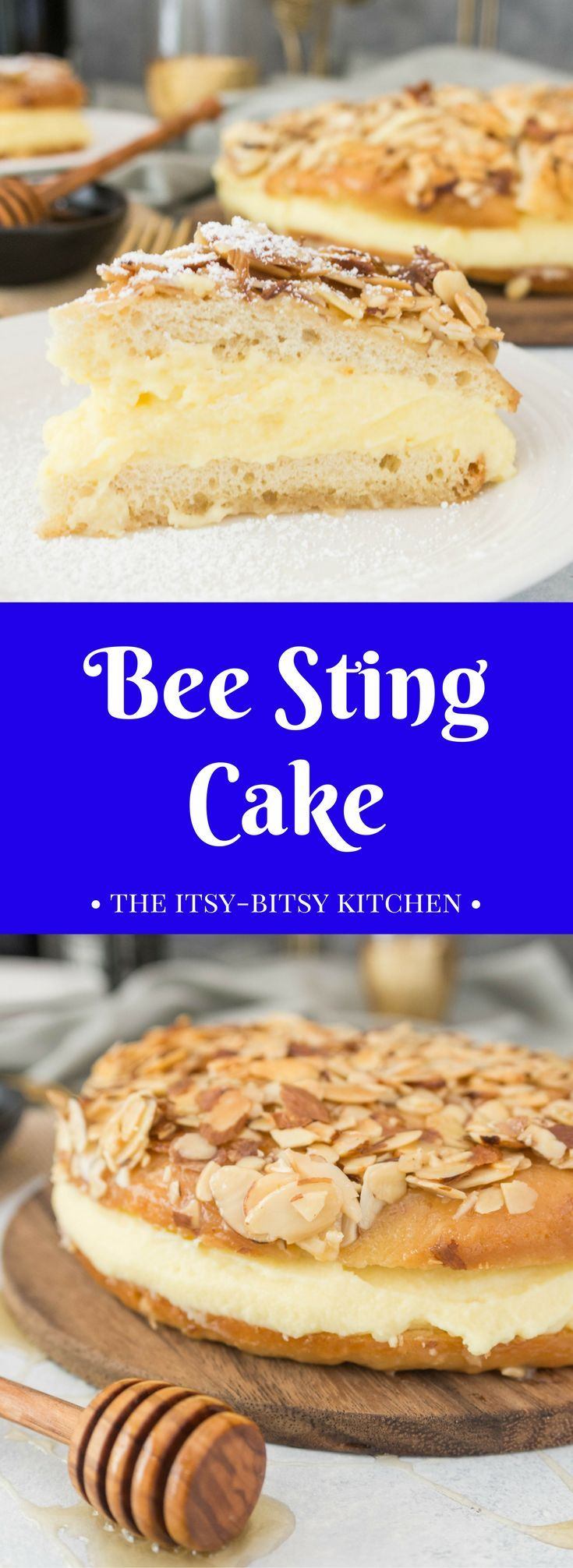 A recipe for bee sting cake--a delicious German dessert made with a yeasted cake topped with honey and almonds and filled with sweet pastry cream; it's the perfect dessert for your #Oktoberfest festivities! #Oktoberfestbash #Oktoberfestrecipe