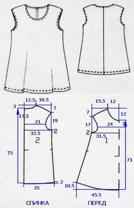 La túnica de la dimensión grande para las mujeres (la Costura y el corte)   la Revista la Inspiración de la Laborerau000du000aEL GASTO DE LA TELA PARA LA TÚNICA DE LA DIMENSIÓN GRANDEu000du000aA la anchura de la tela de 170 cm ser necesarios 90 cm. Si la anchura de la tela es más pequeña 170 cm, tiene que tomar 175 cm. Todas las dimensiones sobre el patrón son indicadas en los centímetros sin márgenes a las costuras.