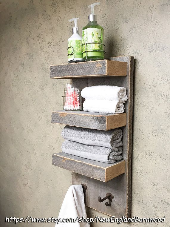 BATHROOM 3 TIER Wall Shelf with towel hooks, Rustic bathroom organizer, with two coat or towel hooks. This is perfect for your bathroom, or