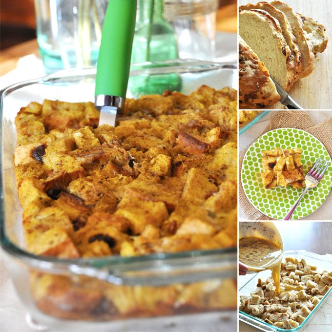 Pumpkin French Toast Bake  Ingredients  •3 1/2 – 4 1/2 cups 1-inch bread cubes (depending on type of bread)  •7 large eggs  •2 cups milk (any kind)*  •1 tsp vanilla extract  •1 1/2 tsp pumpkin pie spice  •1/4 cup pumpkin BUTTER (or 1/2 cup pumpkin puree)*  •3-4 tablespoons brown sugar for topping  •nuts, like pecan or walnuts (optional)
