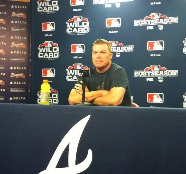 Chipper Jones #10 addresses the Media at Turner Field #Braves