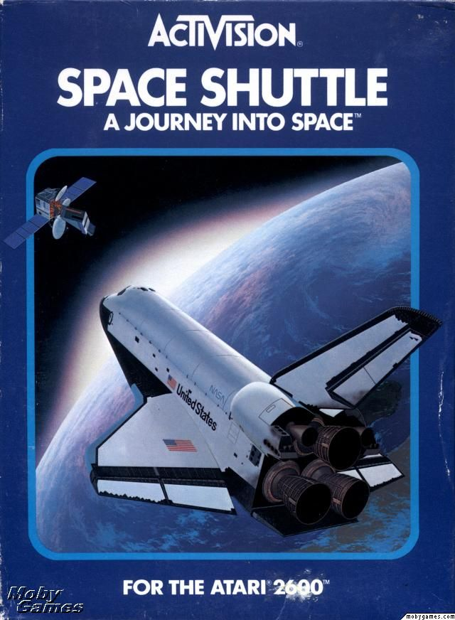 8-bit Space Shuttle simulator, circa 1983. Space Shuttle: A Journey into Space Atari 2600 Front Cover
