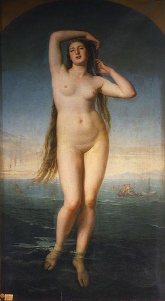 "Antonio Gisbert: ""Venus Anadiómena"", 1858, oil on canvas, Dimensioni: Altezza: 225 cm. Larghezza: 119 cm., Real Academia de Bellas Artes de San Fernando."