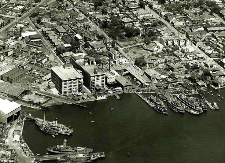 Aerial photo of Balmain Shipyard in the inner west suburb of Sydney in 1949.
