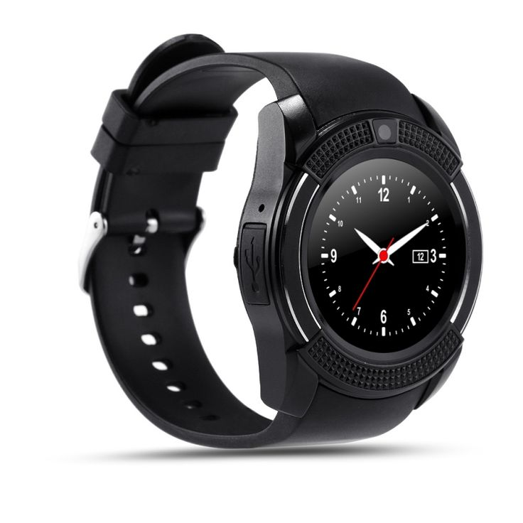 V8 MTK6261D 32M + 32M 0.3MP Camera Multifunctional Bluetooth Smart Watch Black