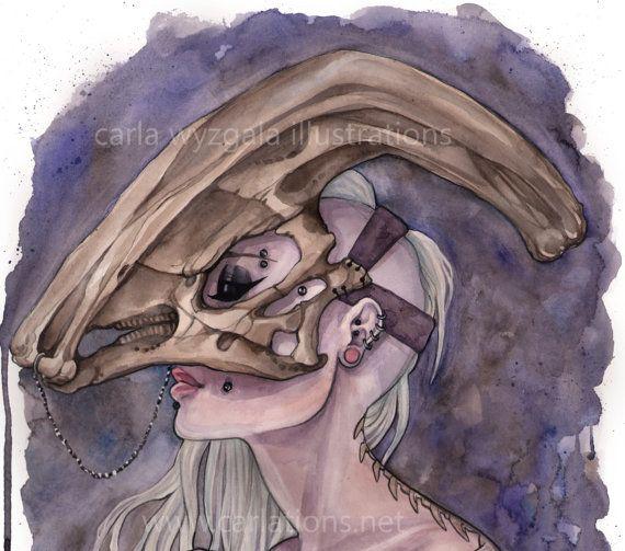 Parasaurolophus Dinosaur Skull Mask Masquerade Watercolor