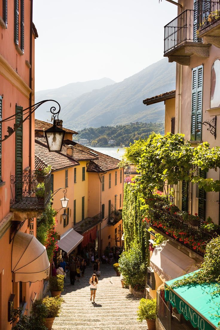 A lovely little street in Bellagio, Italy, on the shores of Lake Como. A wonderful day trip from #Milan.