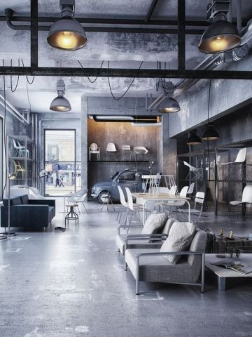 loft rotterdam industrial rock pendant lighting. Concrete Floors And Exposed Metal Beams Are Key Industrial Themes Loft Rotterdam Rock Pendant Lighting