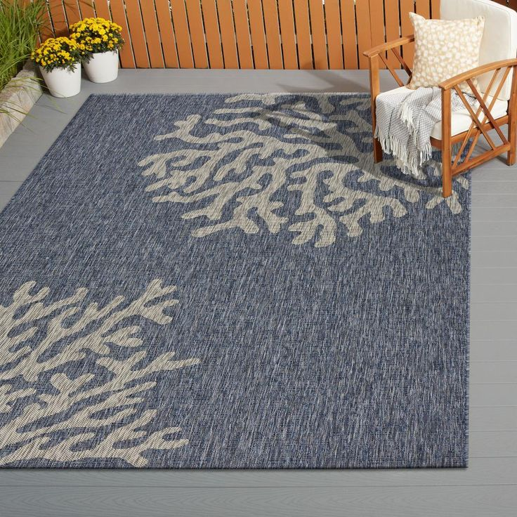 LR Resources Captiva Navy/Gray 5 ft. x 7 ft. Rectangle Indoor/Outdoor Area Rug, Navy / Gray