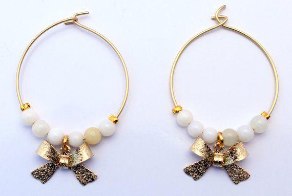 b78e65db1ade6 Hoop earrings with green opals, bow earrings, semi precious earrings ...