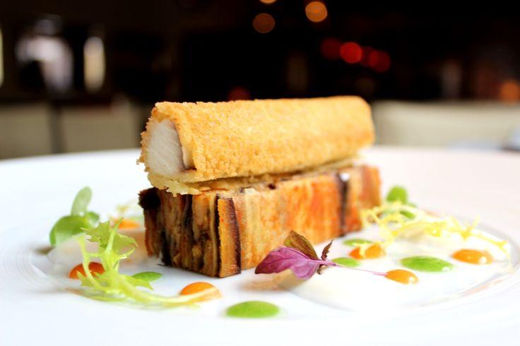 Mackerel sandwich with eggplant parmigiana, burrata cream and tomatoes granite