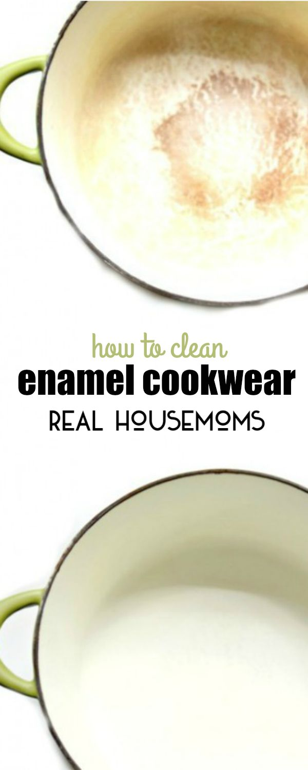 If your enamel cookware is stained or has burnt on food on the bottom here is HOW TO CLEAN ENAMEL COOKWARE, so it's bright and white again!