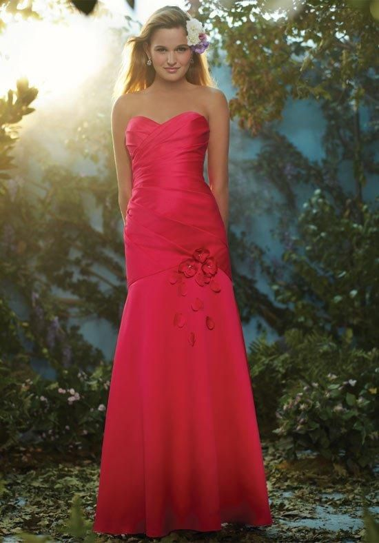 Disney bridesmaid dress features a fit-and-flare silhouette with flower detailing on the skirt. The wrapped bodice is complemented by a sweetheart neckline and lace-up back | Disney Royal Maidens by Alfred Angelo | https://www.theknot.com/fashion/514-disneys-royal-maidens-dresses-by-alfred-angelo-bridesmaid-dress
