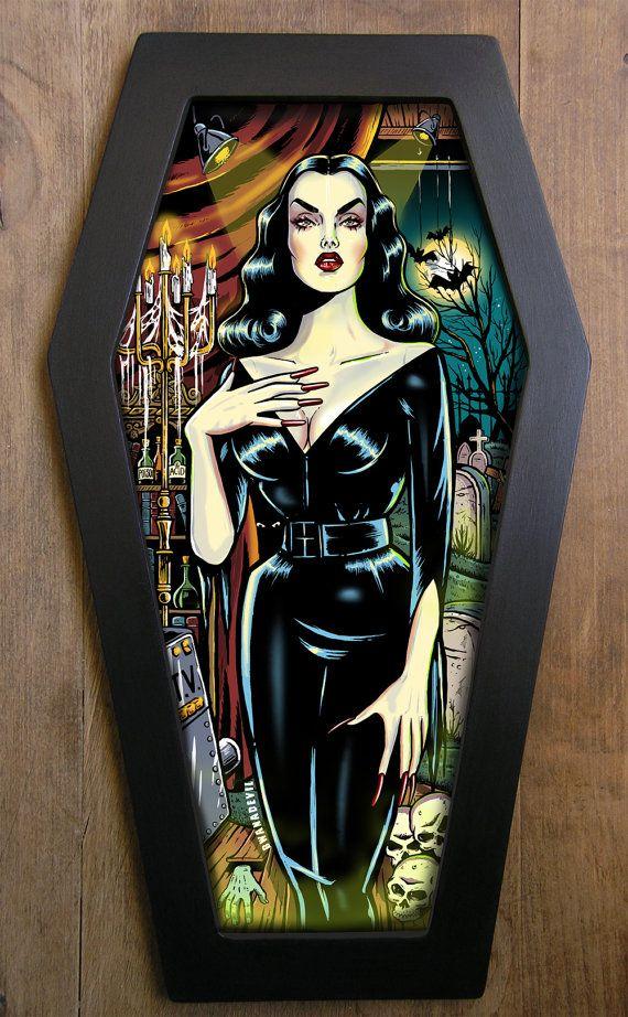 Vampira (Maila Nurmi) coffin framed print.