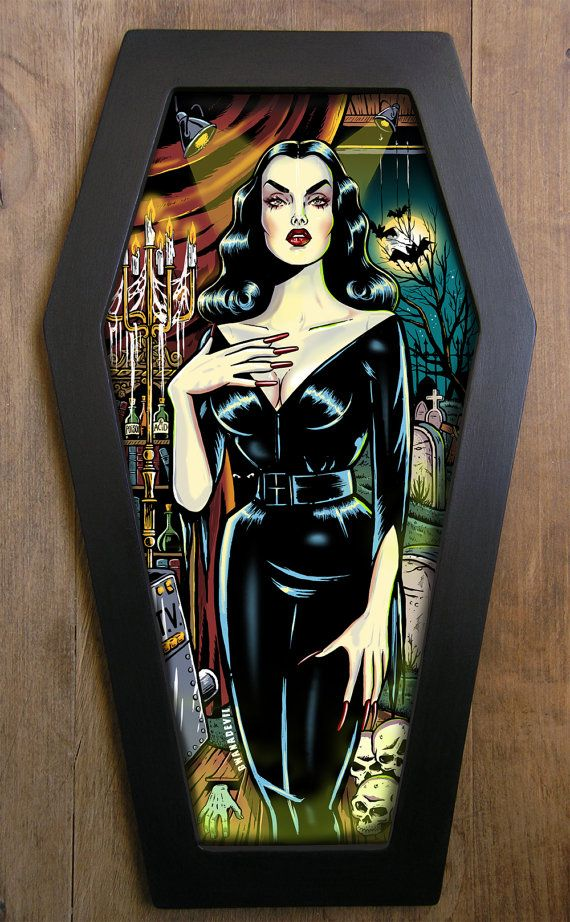Vampira Maila Nurmi cercueil tirage encadré.