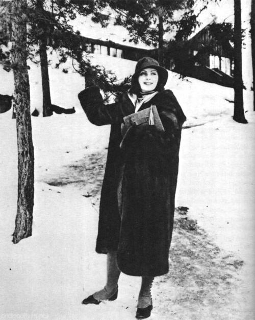 Greta Garbo visiting the Swedish movie studio Filmstaden in Råsunda during a visit home in January 1929