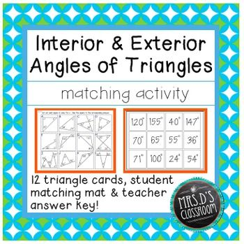 This matching activity is a great way to have students practice finding unknown measures of interior and exterior angles of triangles. There are 12 problems students will solve and match up the answers to on the mat. Students need to apply the triangle sum theorem and also use supplementary and complementary angles to solve for the unknown measure. Teacher answer key included!  Common Core Aligned: 8.G.5
