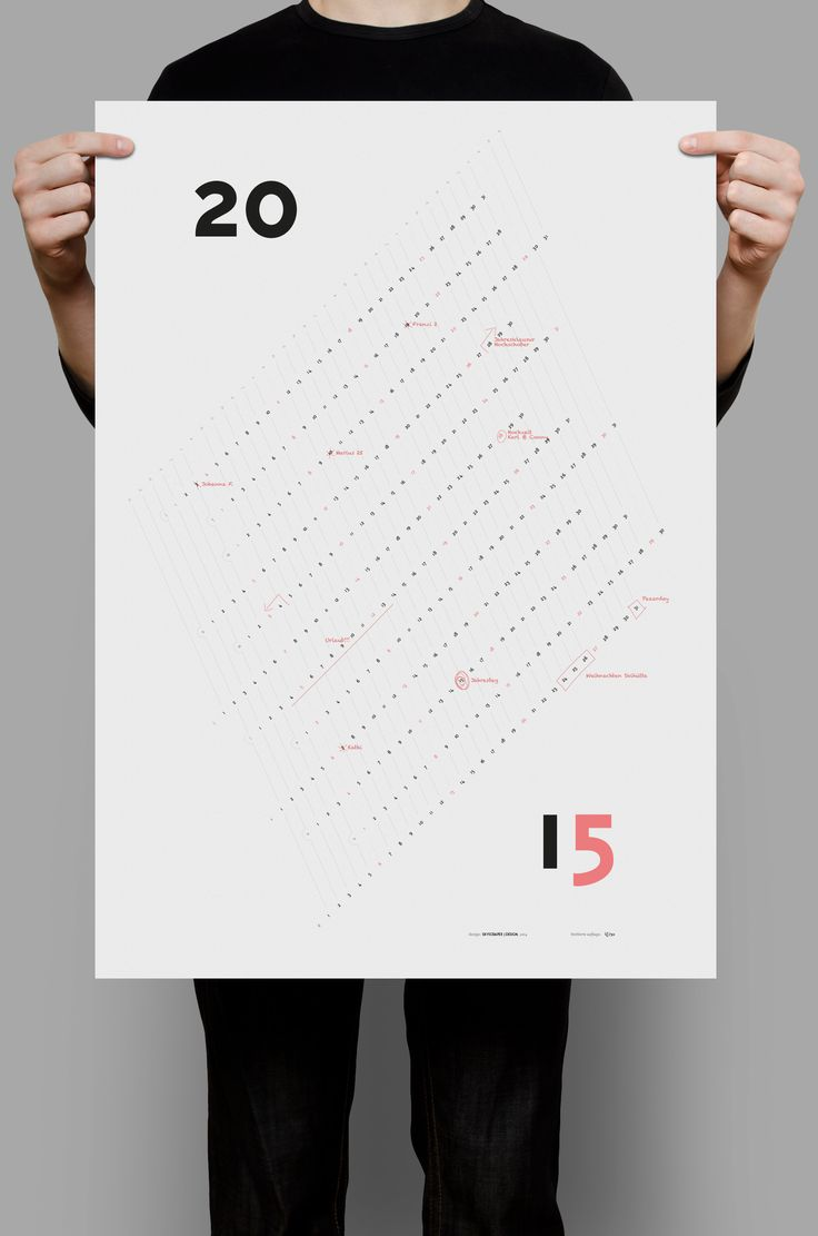 Calendar 2015 – graphic design, wall poster calendar, personalizable