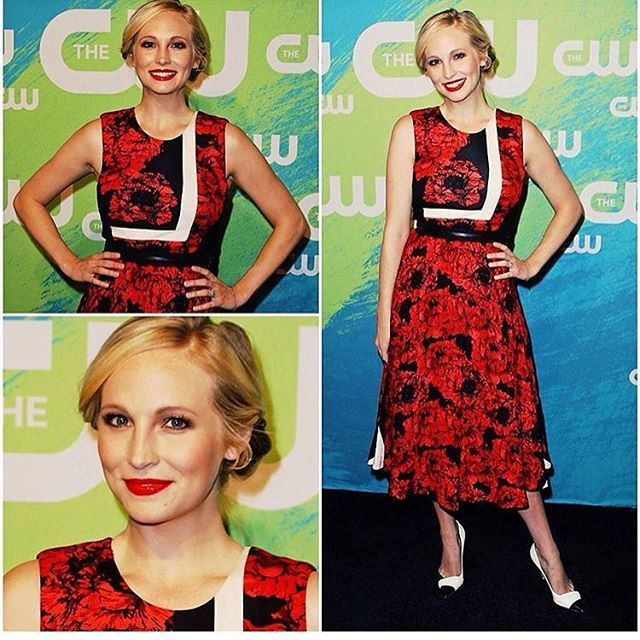 Thrilled I got to celebrate The CW & TVD Season 8 this morning!  Fashion credits:  Stylist @juliematosstyle * Dress @tracy_reese @thehoneymanagency * Shoes @sergiorossiofficial * makeup @makeupbydianam * hair @hairpimp360