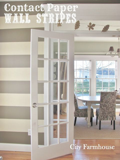 Contact Paper Wall Stripes (removable and perfect for rental apartment living) - great for those who like to redecorate frequently!