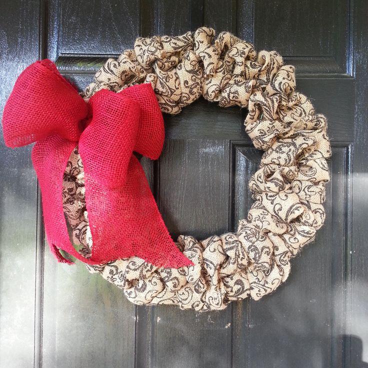 Red Bow Burlap Wreath