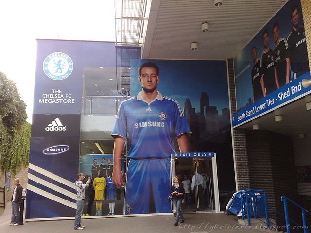 Chelsea FC Megastore at Stamford Bridge, London, UK.     #Champions