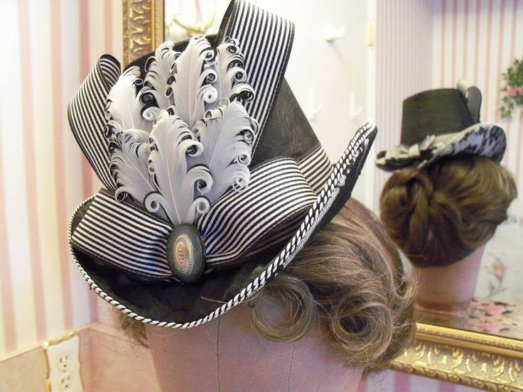 Very elegant black & white Bustle Era hat made by Diane Y. in the online class at HistoricalSewing.com