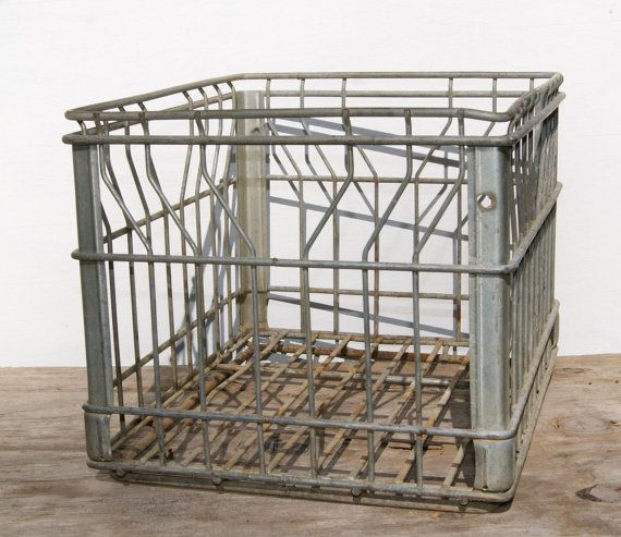 Vintage dairy crate industrial home decor wire steel crate for Decorating with milk crates