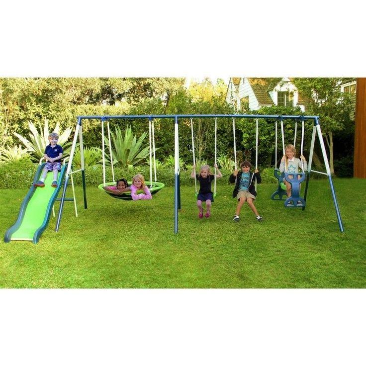 Kids Metal Swing Set Outdoor Playset Slide Backyard Playground Children Child  #Sportspower