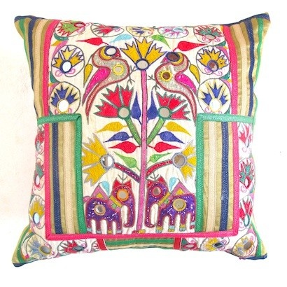 Patchwork Cushion with Elephants and Flowers, an Antique Indian Textile