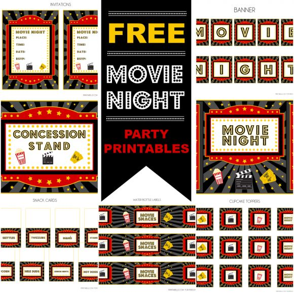 FREE Movie Night Party Printables By Printabelle Free Printables