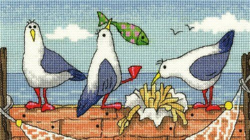 Fish 'n' Chips - Seagulls cross stitch kit by Heritage Crafts