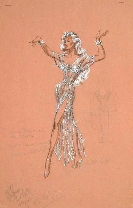 Costume design sketch by Edith Head for Marilyn Maxwell in 'Rock-A-Bye Baby', 1958