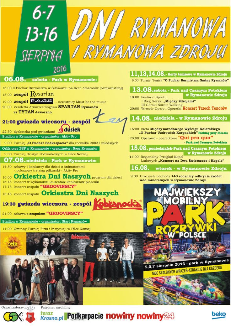 """w dniach 11-16  sierpnia 2016 r. odbędzie się zdrojowa część """"DNI RYMANOWA i RYMANOWA ZDROJU"""", szczegóły imprezy na plakacie:"""