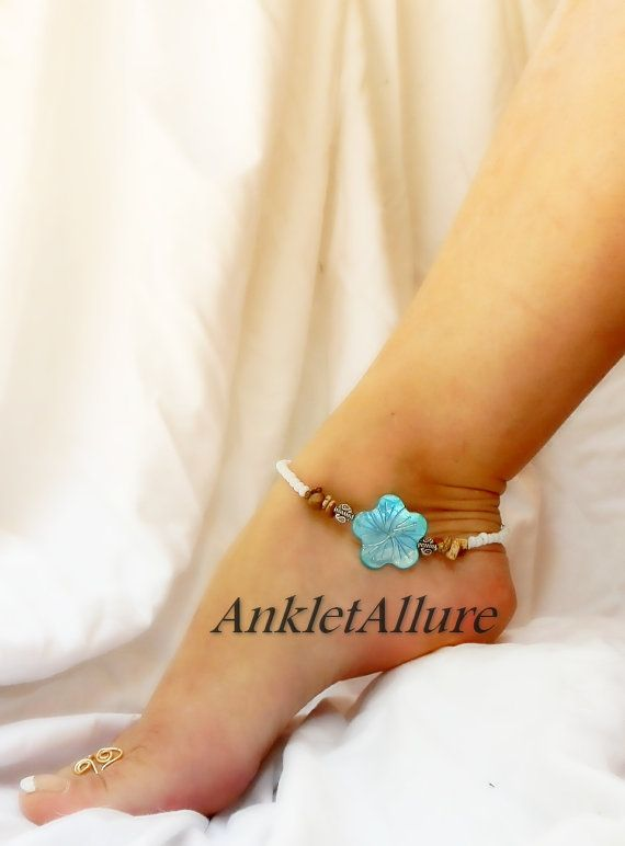 Rocky Beach Feet Blue Hawaiian Hibiscus Flower by AnkletAllure
