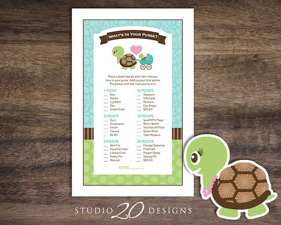 """Turtle What's In Your Purse Game Cards, Instant Download by Studio20Designs. What's In Your Purse Game by Studio20Designs. TO PLAY: This baby shower game comes 2-up on an 8.5""""x11"""" sheet for easy printing. Guests place a check beside each item they have in their purse. Whoever has the most total points at the end wins!"""
