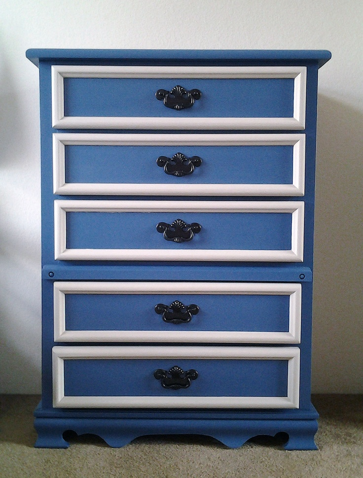 Blue Painted Dresser, After