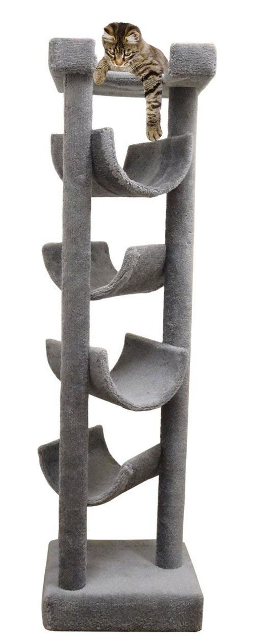 Carpet Cat Tower for Large Cats 72 inch Wood Cat Tree in Gray -- Continue to the product at the image link. (This is an affiliate link and I receive a commission for the sales)