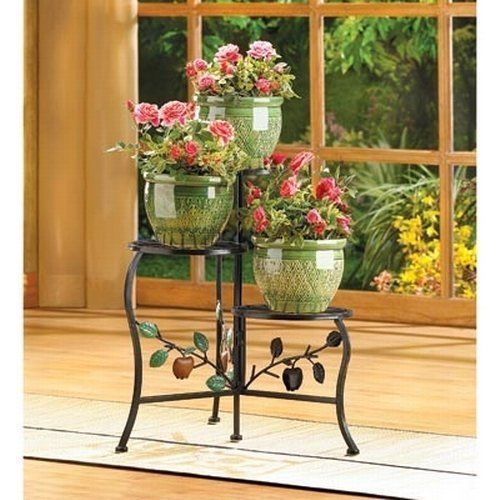 Delightful Country Apple 3 Tier Metal Plant Stand Table Garden Patio Planter Pot  Holder New