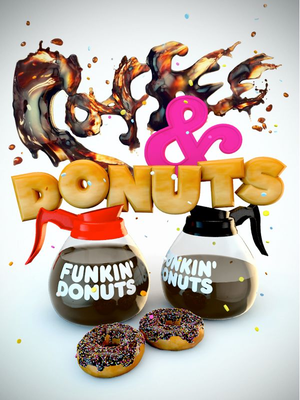 3d-typography-coffee-donuts - 3D Typography Design Modelling