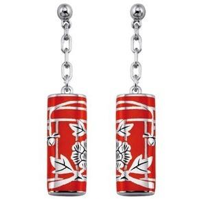 KENZO Fedora Red Resin Drop Stud Earrings