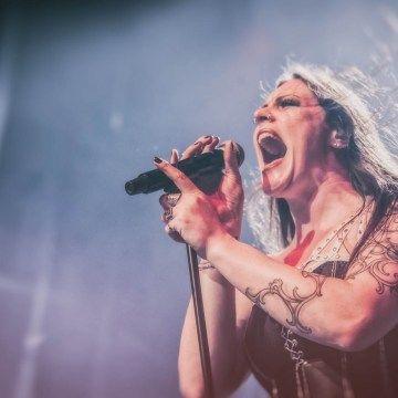 Floor Jensen of Nightwish performing at the Forum Theatre, Melbourne.