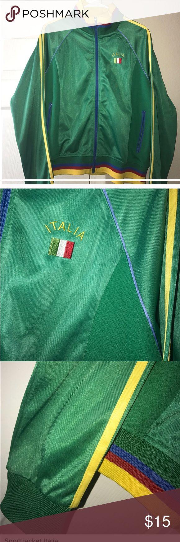 Sports Jacket Italia Track jacket, sports jacket, red green blue yellow, Italian flag, size xl but fits like large, long sleeve Jackets & Coats
