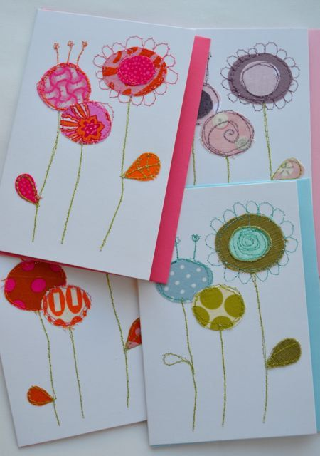 Stitched fabric cards funky flora by SuWolf on Etsy