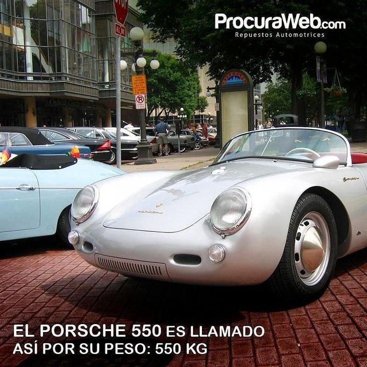 """El Porsche 550 era un pequeño deportivo biplaza de propulsión trasera y de extrema ligereza. No disponía de ningún tipo de techo de ahí la denominación """"Spyder"""". Por su buena aerodinámica con sólo 110 caballos  de potencia alcanzaba los 220 km/h. Su motor era un 4 cilindros con 1.498 cm. La caja de cambios era manual con 4 velocidades. Recibió su nombre gracias a que su peso era de 550kg  #Curiosidades #Carpeople #Porsche #ProcuraWeb"""