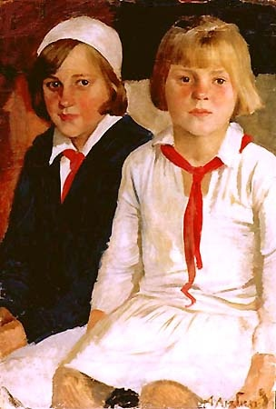 1932 Two Girl Pioneers Alexi Lubimov: Soviet Art